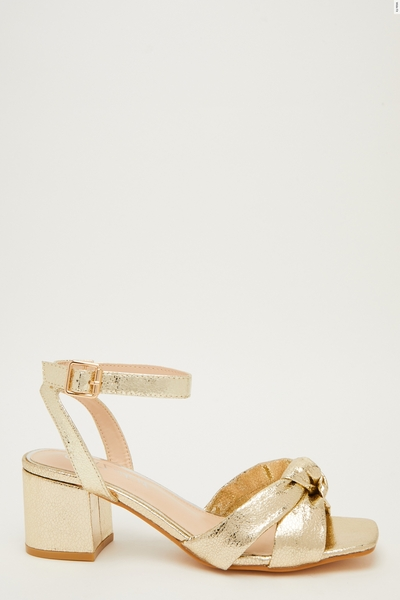 Wide Fit Gold Knot Heeled Sandals
